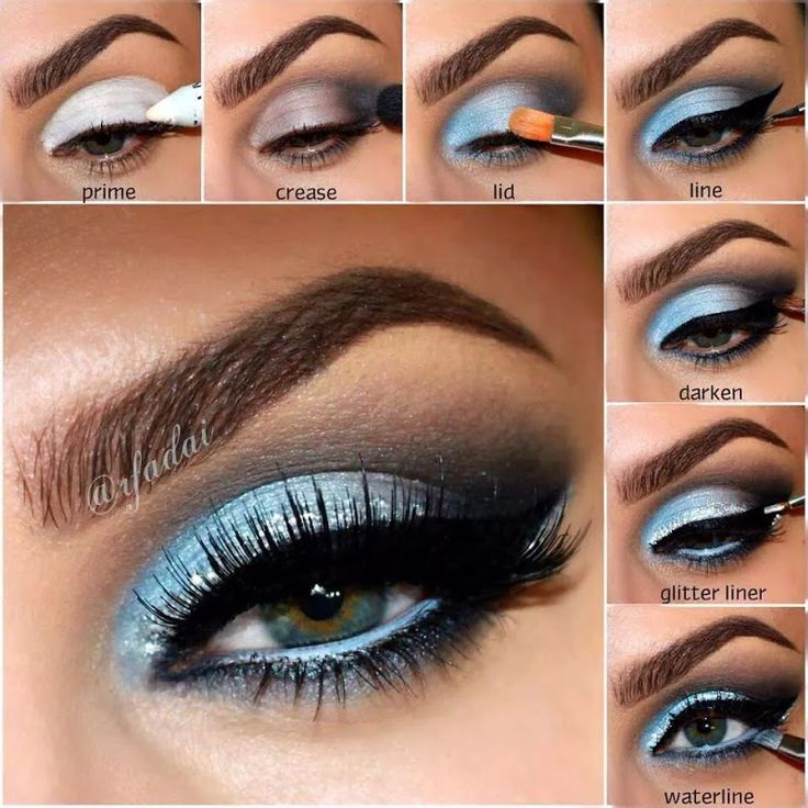 Smart Sky Blue Makeup for Night Parties  Click photo to see step by step guide on how to do smart blue sky makeup