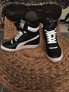 Puma by Mihara Yasuhiro Black White Wedge Sneakers 6 5 | eBay