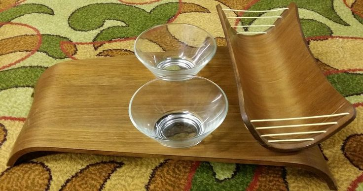 Estate Rhythm in Wood Don Parker Eames Vintage Mid Century Danish Scandinavian Swedish Wood Bent Plywood Platter Bentwood TV Tray Centerpiece Tray Vessel with two glass bowls very rare very cool piece only $299 with FREE PRIORITY SHIPPING @ www.iBidBuyShip.com!