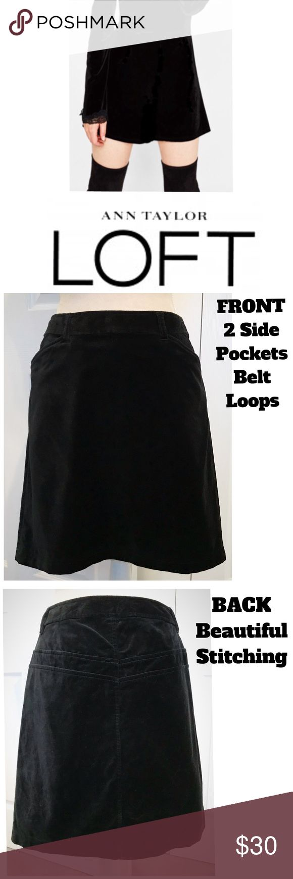 """Ann Taylor Loft, Black Velvet Shift Skirt Ann Taylor Loft, Black crushed velvet shift skirt. Gorgeous stitched detailing, edged side pockets, belt-loops on Waistband, side zip & clasp hook closure. ✅Waist 32"""", Length 19"""" Long (hits at my knees). In Excellent, Like New Condition! Adorable with boots! Easy dressed up with jacket or casual with tee shirts. It's Fabulous! Ann Taylor Loft Skirts A-Line or Full"""