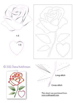 Valentine Rose on Craftsuprint designed by Diana Hutchinson - A beautiful rose stitching pattern for Valentine's Day. - Now available for download!