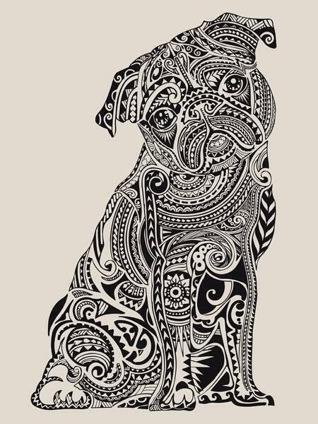 pen and ink Pug