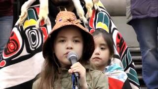 Ta'Kaiya Blaney's performance and speech at No Tankers Rally, via YouTube.  So cute - she was escorted out by big oil company and threatened her with trespassing!!! Go Ta'Kaiya!!!