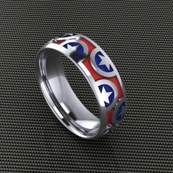 Captain America Wedding Ring Marvel Jewelry Captain America Wedding Geek Jewelry