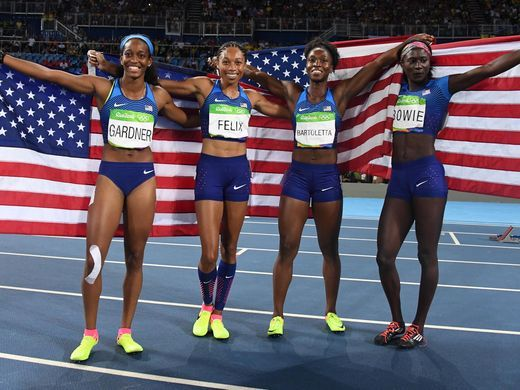 Allyson Felix became the first woman to win five Olympic gold medals in track and field with the win. Jamaica finished second in 41.36 and Great Britain finished third with a time of 41.77.