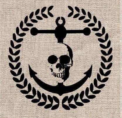 Wreath Anchor and Skull Stencil by CutItOutStencil on Etsy, $18.00