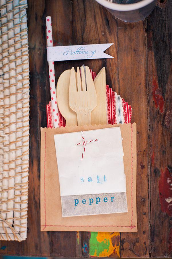 super cute silverware packets for each guest http://www.weddingchicks.com/2013/10/08/american-wedding-ideas-2/