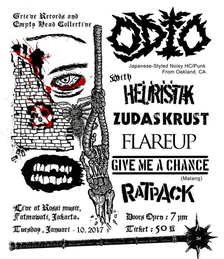 @Regrann from @whmh_records -  Grieve Records & Empty Head Collective Present  Odio Live in Jakarta, 10 January 2017 at Rossi Musik  With: Heuristik Ratpack Flare Up Give me a chance (Malang) Zudas Krust  Ticket : 50K Start: 19:00-23:00  Odio are a Japanese-styled noisy hardcore/punk/d-beat/crust band hailing from Oakland CA, and featuring members of such bands as Holy, Korrosive, Tørsö, etc.  Check them here : https: //odiodio.bandcamp.com  #odiosoutheastasiantour #hardcorepunk…