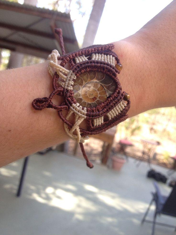 Ammonite macrame bracelet.I love these amazing crystallised fossils!