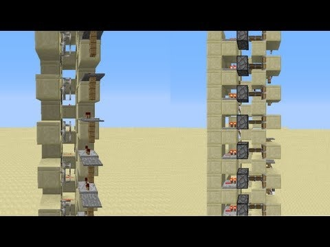 Minecraft - NEW Elevator Design for 1.4 and up (Iron Bar/Glass Pane Elevator)