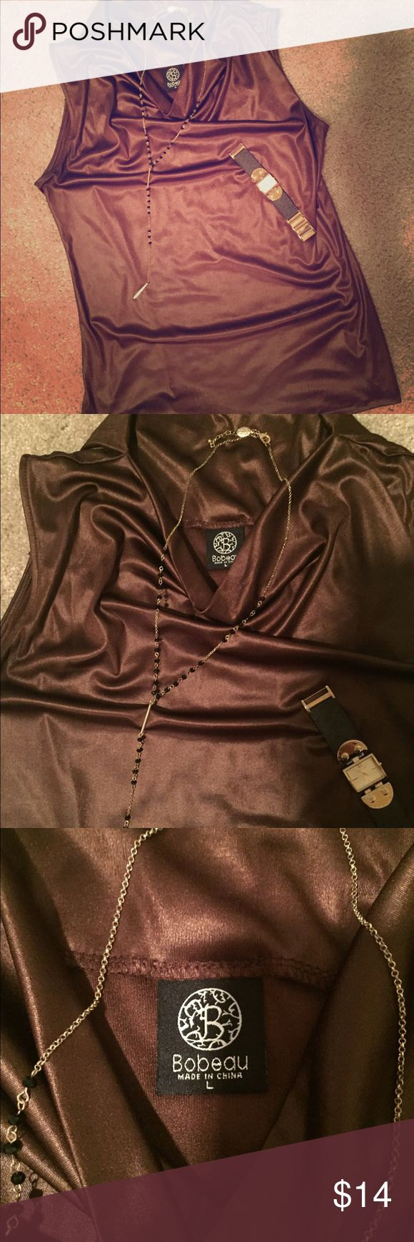 Brown Dressy Top Chocolate color satin-like top. Ladies size large. 92% polyester, 8% spandex. Very comfortable but nicely dresses up a pair of jeans or anything else. Only worn once. bobeau Tops Tank Tops