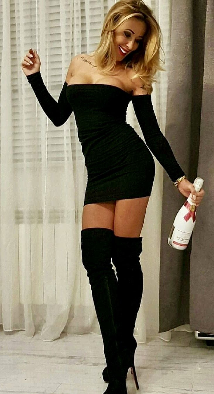 Very Long Legs And Boots Under Very Short Dress  Bootlegs -9092