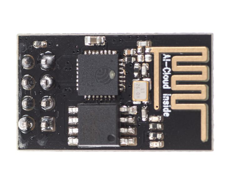 The ESP8266 ESP-01 is a Wi-Fi module that allows microcontrollers access to a Wi-Fi network. This module is a self-contained SOC (System On a Chip) that doesn't necessarily need a microcontroller to manipulate inputs and outputs as you would normally do with an Arduino, for example, because the ESP-01 acts as a small computer. Depending on the version of the ESP8266, it is possible to have up to 9 GPIOs (General Purpose Input Output). Thus, we can give a microcontroller internet access ...