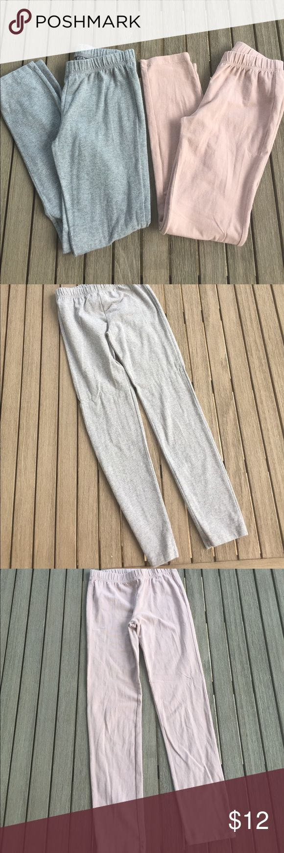 Lot of Gap Neutral Leggings Gap Kids size M (8) Leggings in medium grey and blush/taupe color. Both in good used condition only showing signs of wash and wear no other flaws. Great neutral colored basics to wear under tunics or dresses! Price firm unless bundled on all items under $10 GAP Bottoms Leggings