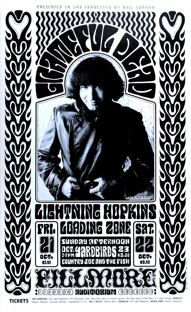 (BG 32) 1966 Grateful Dead / Lightning Hopkins / Loading Zone / Yardbirds / Country Joe and the Fish at the Fillmore West. Art by Wes Wilson, photo Herb Greene.