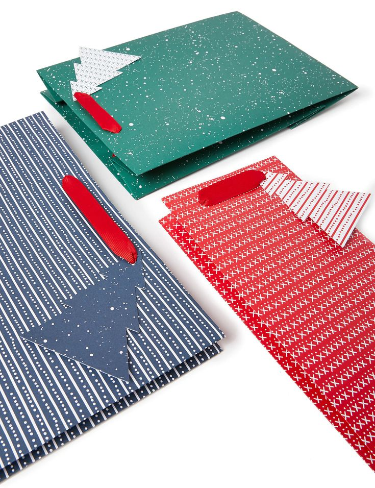 Red, Green & Blue Christmas Gift Bags Pack of 3 | M&S ...