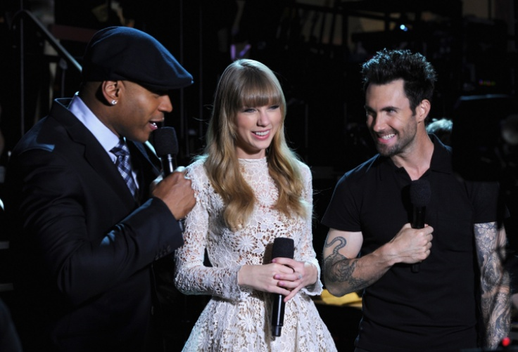 "L Cool J, Taylor Swift and Adam Levine onstage at ""The GRAMMY Nominations Live!! — Countdown To Music's Biggest Night"" on Dec. 5 in Nashville.  Tune in to the 55th GRAMMy Awards 2/10/13 on CBS!  Photo: Larry Busacca/Getty Images"