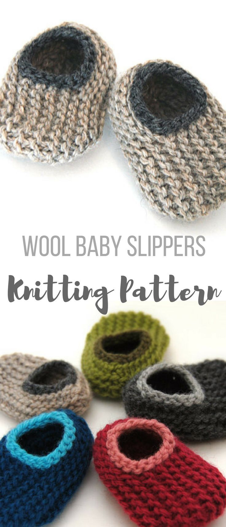 Instant Download PDF Knitting Pattern - Wool Baby Slippers, Sizes 0-18 Months, Instructions for 4 Sizes, Booties, Crib Shoes #knitbabyslippers #babybootiesknittingpattern #knittingpatternbabybooties #knitbabybooties #affiliate #knitwoolbabyslippers