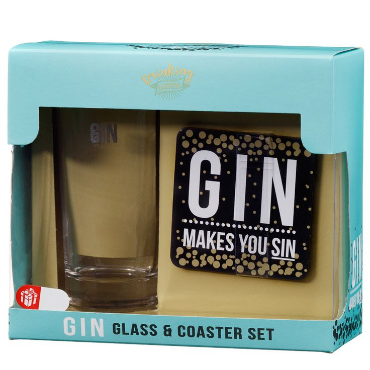 Glass & Coaster Set. Quirky glass & coaster sets which are ideal as a novelty gift at Christmas time. Available in 6 designs - B&M Stores.