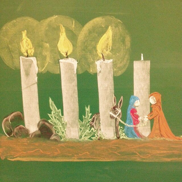 Use real beeswax candles and wooden figures like this on the dining table