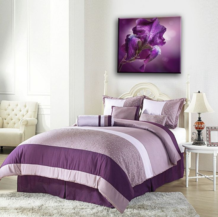Nu Arte Canvas - Square Purple Flower framed canvas. Available in many sizes. (framed or flat print).