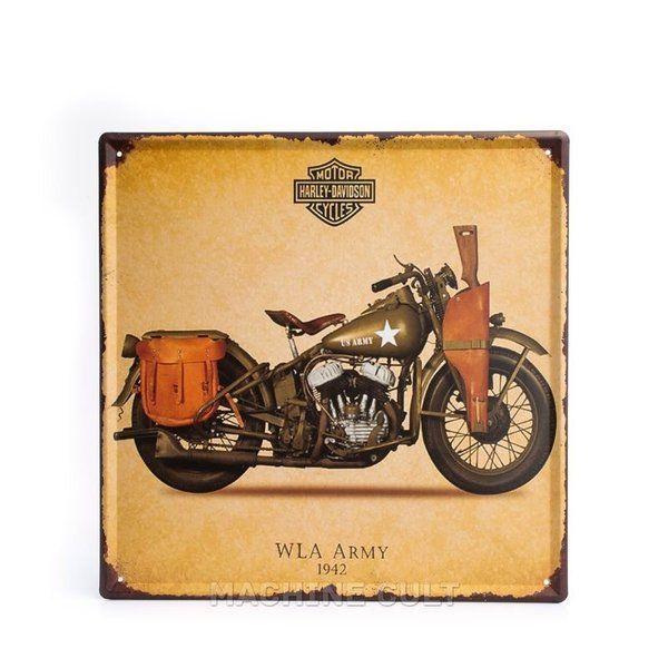 Placa Harley-Davidson - Moto Militar - Machine Cult | Loja online especializada em camisetas, miniaturas, quadros, placas e decoração temática de carros, motos e bikes