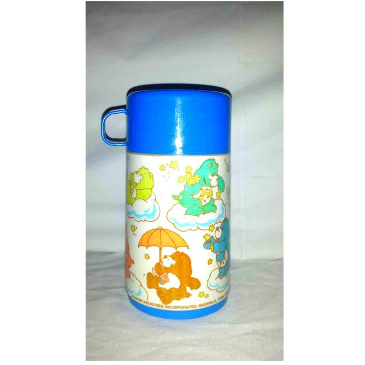 Vintage Blue Care Bear Aladdin Thermos, 1985, Care Bears, Vintage Care Bears, Insulated Hot Cold Thermos, Vintage Kids Thermos, Spout Lid by JunkYardBlonde on Etsy #carebear #carebears #bluecarebear #bluealaddinthermos #vintagethermos #carebearthermos #vintagecarebears