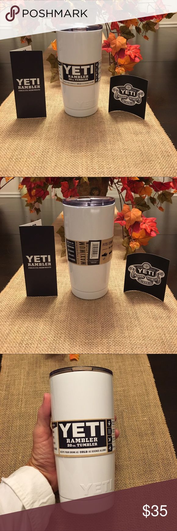 Yeti 20 ounce Authentic rambler Yeti 20 ounce authentic rambler! Brand new. White in color . Very hard to find color!! Comes with top and yeti sticker! 🎄 makes great Christmas gifts 🎁Not included in bundle unless two or more yeti cups are bought at the same time. You can still bundle just to save on shipping you just won't receive a discount off the yeti👍🏻Thanks for looking💋 Yeti Other
