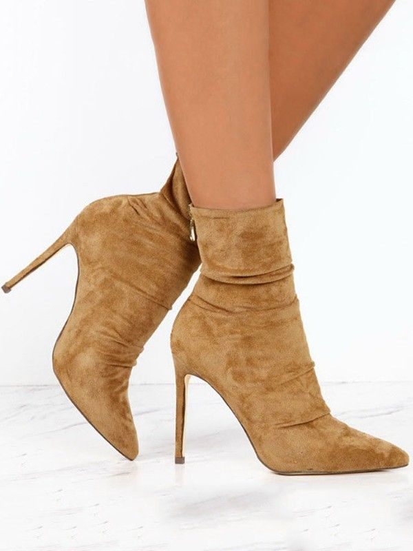 2720443ded1 Suede Thin Heeled Boots - Khaki Online Shopping For Women