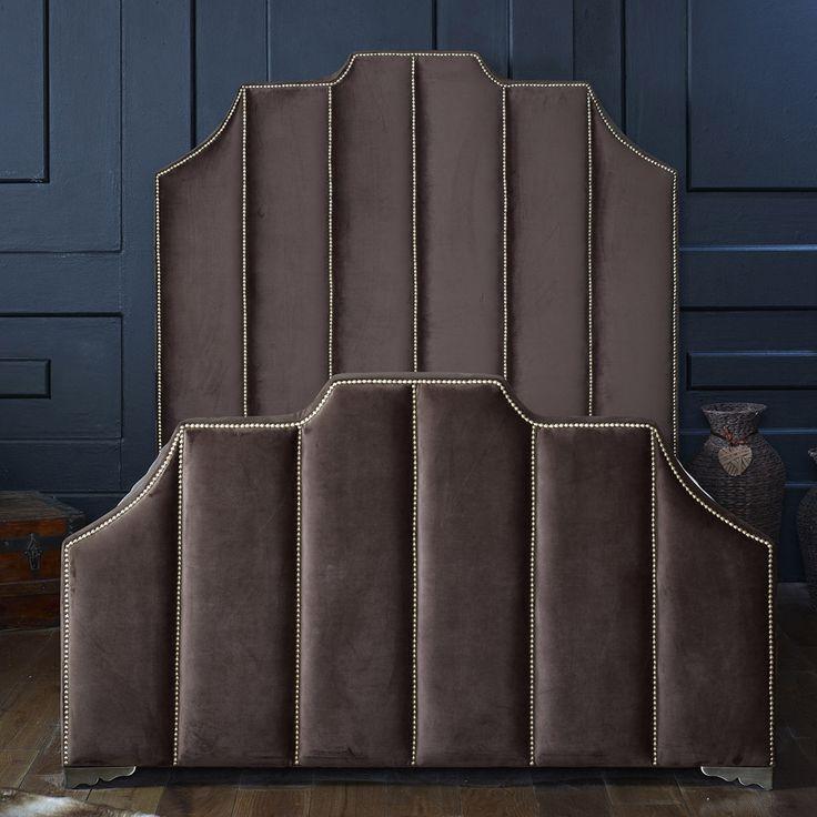 Celine King Velvet Bed Frame, Espresso Brown, Choose Option