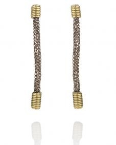Knitted grey earring with 18k gold elements -   Copper wire hand knitted earrings with 18k gold elements.