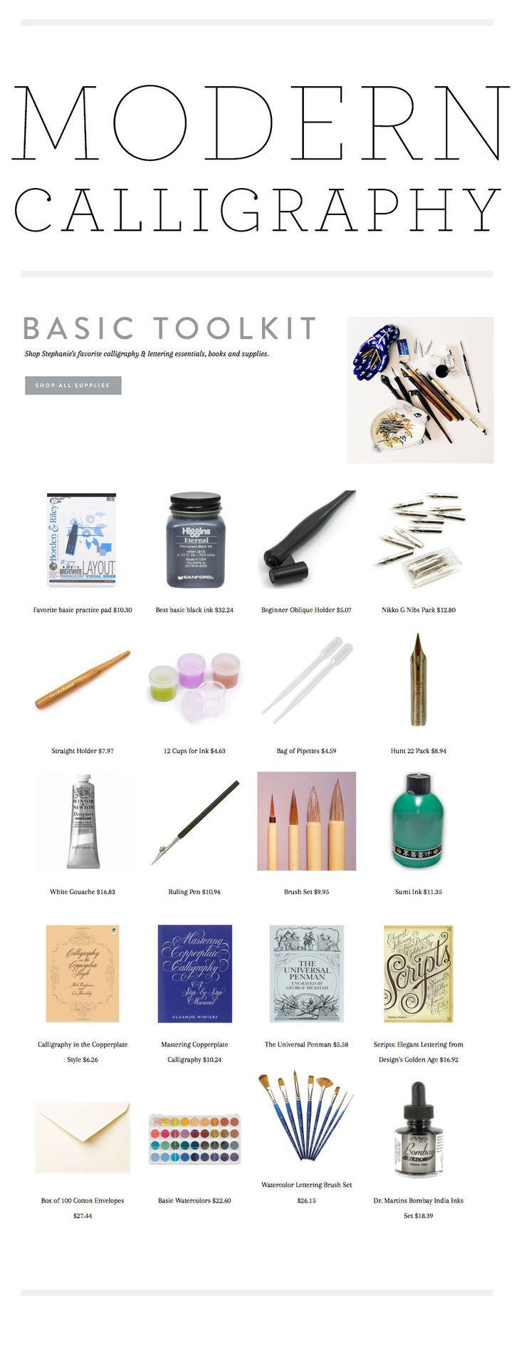 basic tool kits for calligraphy After many requests I have finally started adding my favorite calligraphy supplies and books into my shop! Today I am working on adding favorite alternative pens and tools for brush lettering too.