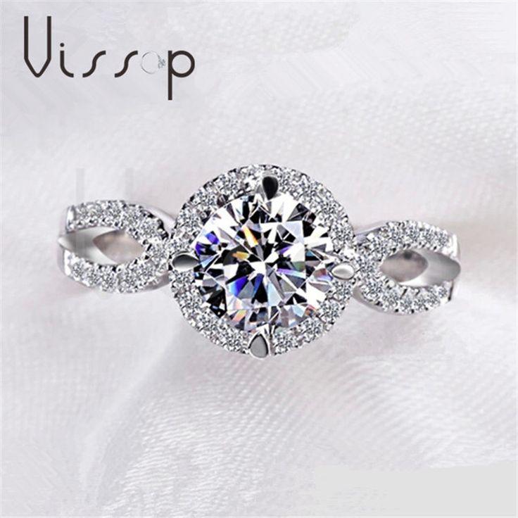 Кольца для женщин 2ct круглый камень CZ алмаз бриллиант Белое золото покрыло кольцо обручальное Обручальные кольца ювелирных изделий способа VSR076
