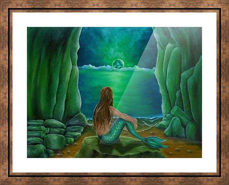Framed, Art Print, meramaid,painting,coastal,scene,merpeople,seascape,cave, sitting, pose, feminine, nude, romantic, atmospheric, lonely, nostalgic, water,legendary,mythological,mythical,aquatic,creature,fish,on the rocks, night, moonlight, moody, fantasy,imaginary,vivid,green,beautiful,cool,contemporary, imaginary realism, figurative,fine,oil,wall,art,images,home,office,decor,artwork,items,ideas,for sale,pictorem