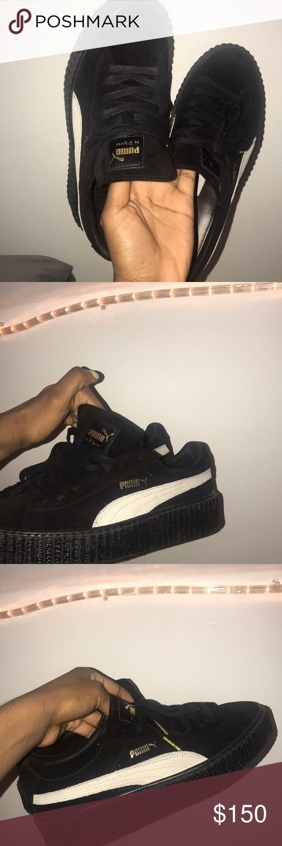 Fenty x Puma creepers Puma creepers by the one and only Rihanna, from her earlier releases. They are in good condition , suede black and white style. I'll negotiate prices if anything. Puma Shoes Sneakers