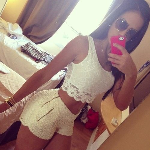 Summer Outfit -Cream Lace Shorts and White Crop Top