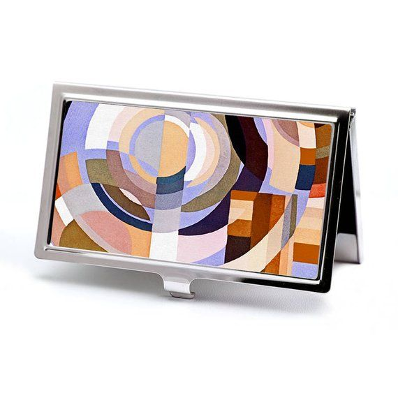 Art Deco Business Card Holder – Autumn Deco Circles – Credit Card Case – Business Card Holder – ID C