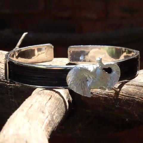 Elephant Hair Bangle with Elephant Head -Handcrafted in Sterling Silver or Gold.  GoodiesHub.com