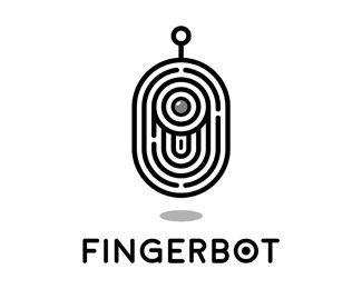 FingerBot Logo - Logo is combination of fingerprint and robot. Price $400.00
