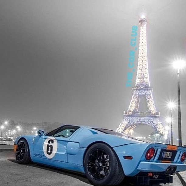 Sky Blue Ford GT hanging out in Paris!