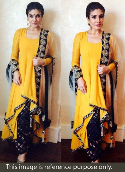 Raveena Tandon Georgette Lace Work Yellow Semi Stitched Bollywood Designer Suit - BT22 In Stock: Rs 2,199
