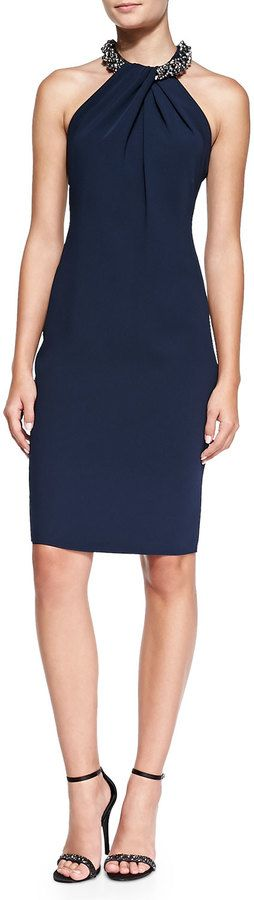 Carmen Marc Valvo Halter Beaded-Neck Cocktail Dress, Navy #halter #dress