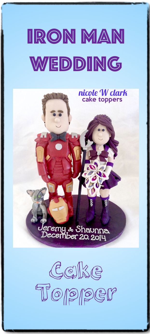 Iron Man meets Sailor Moon WEDDING CAKE TOPPER.  Handmade toppers by Nicole W Clark .  Marvel theme wedding cake tops by www.nicolewclark.com .  #marvelwedding #ironmancaketopper #sailormoonwedding #cutomironman