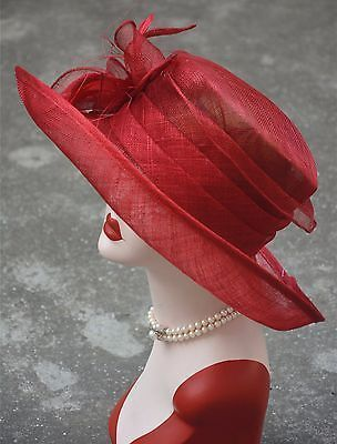 New Womens Kentucky Derby Wedding Sinamay Ascot Church Wide Brim Dress Hat K184