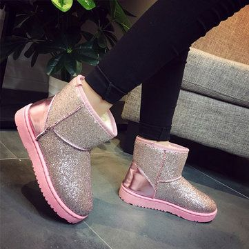 Bling Causal Ankle Warm Snow Boots For Women - US$35.99 sold out