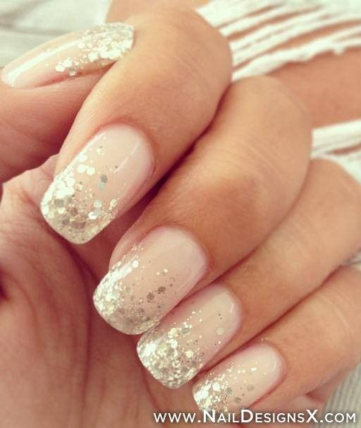 Pink nail polish with silver touch simply awesome for wedding day.