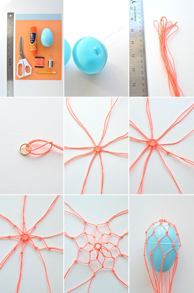 How to make a hot air balloon net for your easter egg.
