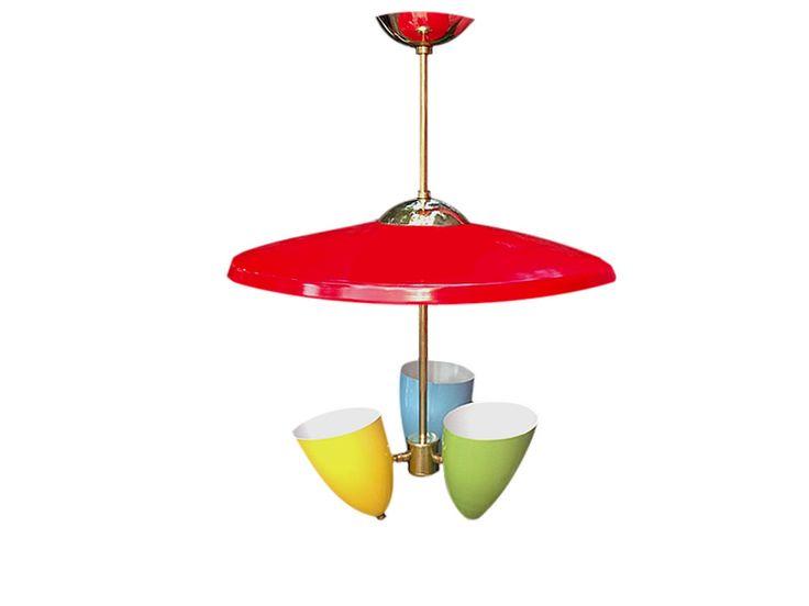 Lámpara de techo tres luces. Italia. 1950 Italian ceiling lamp. Three lights. 1950 www.dessvan.com #dessvan #midcentury #italian #ceilinglamp