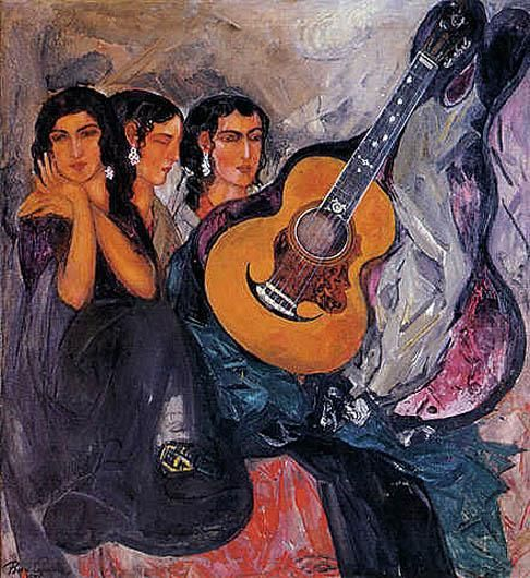Борис Анисфельд. Три испанских леди с гитарой. 1956 г.
