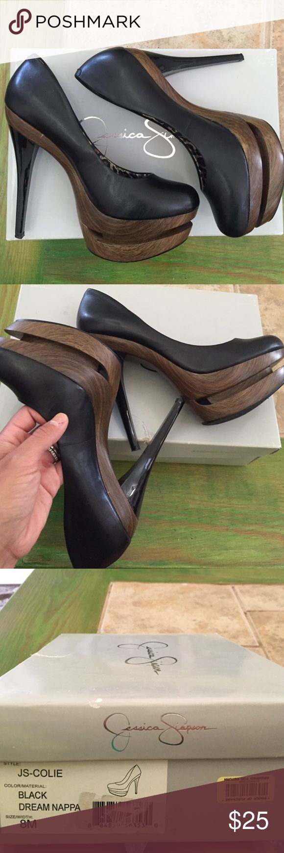 Jessica Simpson platform pumps Black pumps with psychedelic, faux wooden platforms. They have very few tiny spots reflecting wear but are in great condition otherwise! Your legs will look so long in these! Jessica Simpson Shoes Platforms